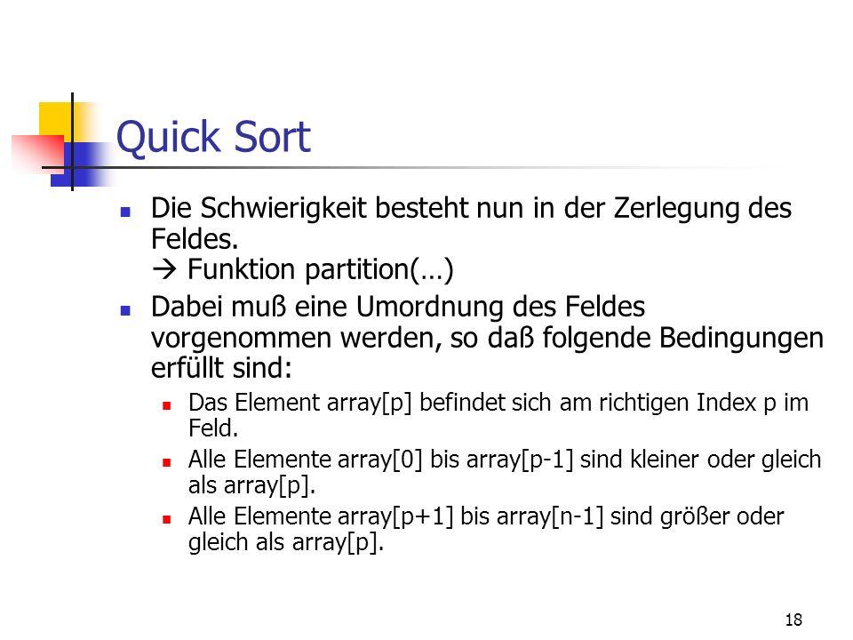 Quick SortDie Schwierigkeit besteht nun in der Zerlegung des Feldes.  Funktion partition(…)