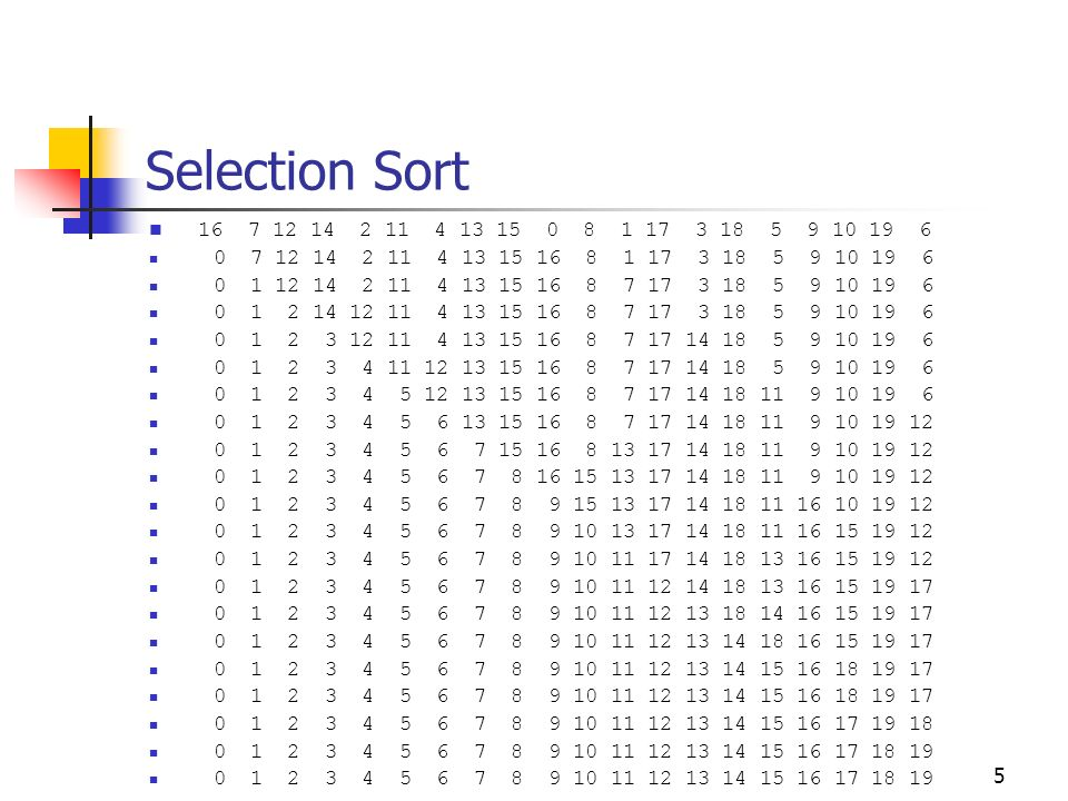 Selection Sort 16 7 12 14 2 11 4 13 15 0 8 1 17 3 18 5 9 10 19 6. 0 7 12 14 2 11 4 13 15 16 8 1 17 3 18 5 9 10 19 6.