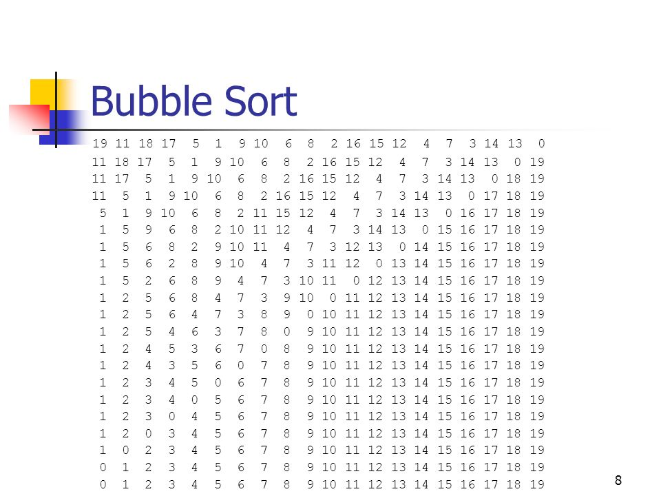 Bubble Sort 19 11 18 17 5 1 9 10 6 8 2 16 15 12 4 7 3 14 13 0. 11 18 17 5 1 9 10 6 8 2 16 15 12 4 7 3 14 13 0 19.