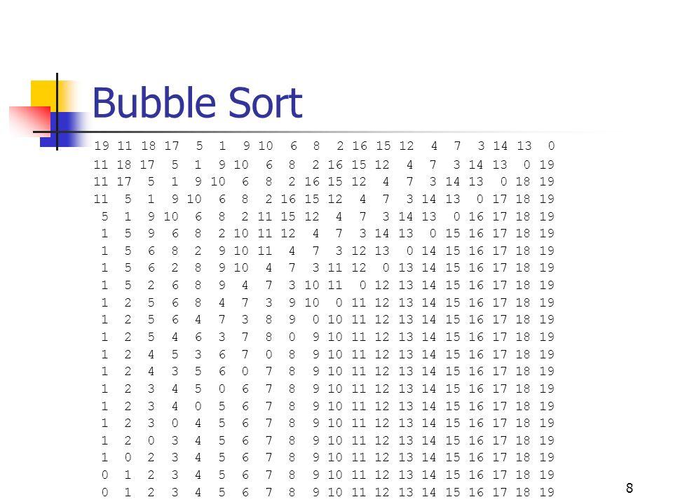 Bubble Sort 19 11 18 17 5 1 9 10 6 8 2 16 15 12 4 7 3 14 13 0. 11 18 17 5 1 9 10 6 8 2 16 15 12 4 7 3 14 13 0 19.