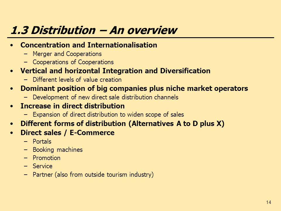 1.3 Distribution – An overview