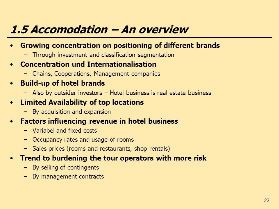 1.5 Accomodation – An overview