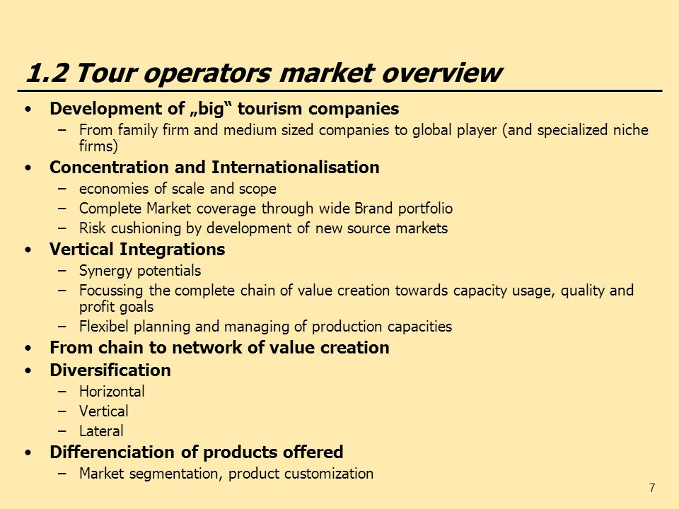 1.2 Tour operators market overview