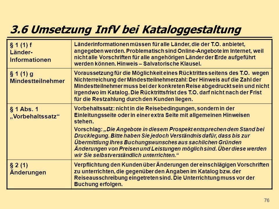 3.6 Umsetzung InfV bei Kataloggestaltung