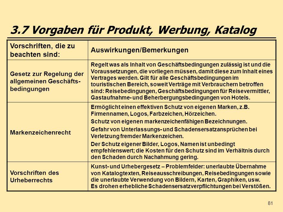 3.7 Vorgaben für Produkt, Werbung, Katalog