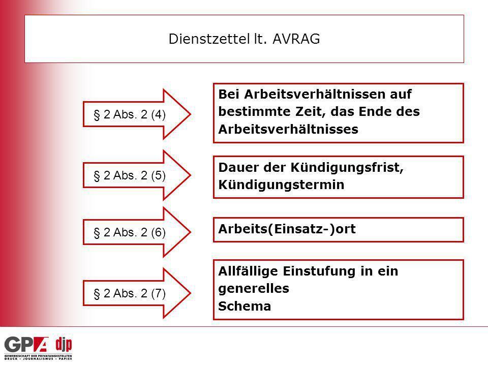 Dienstzettel lt. AVRAG Bei Arbeitsverhältnissen auf bestimmte Zeit, das Ende des Arbeitsverhältnisses.