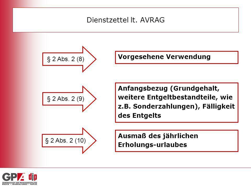 Dienstzettel lt. AVRAG § 2 Abs. 2 (8) Vorgesehene Verwendung