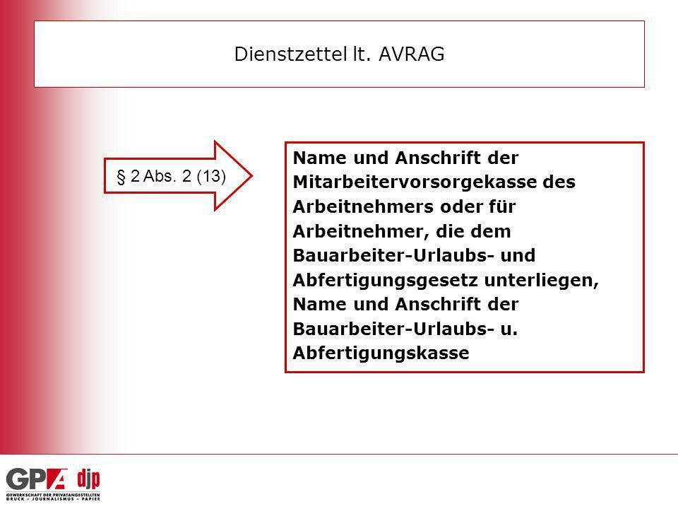 Dienstzettel lt. AVRAG § 2 Abs. 2 (13)