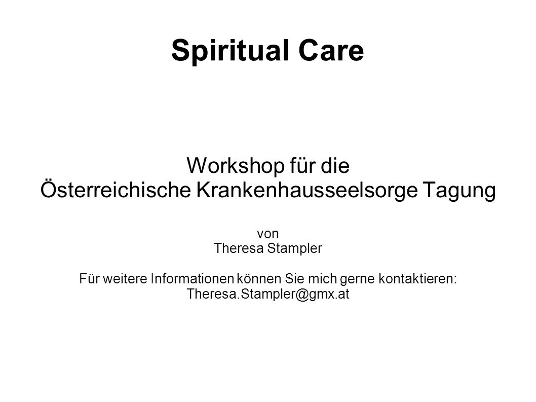 Spiritual Care Workshop für die
