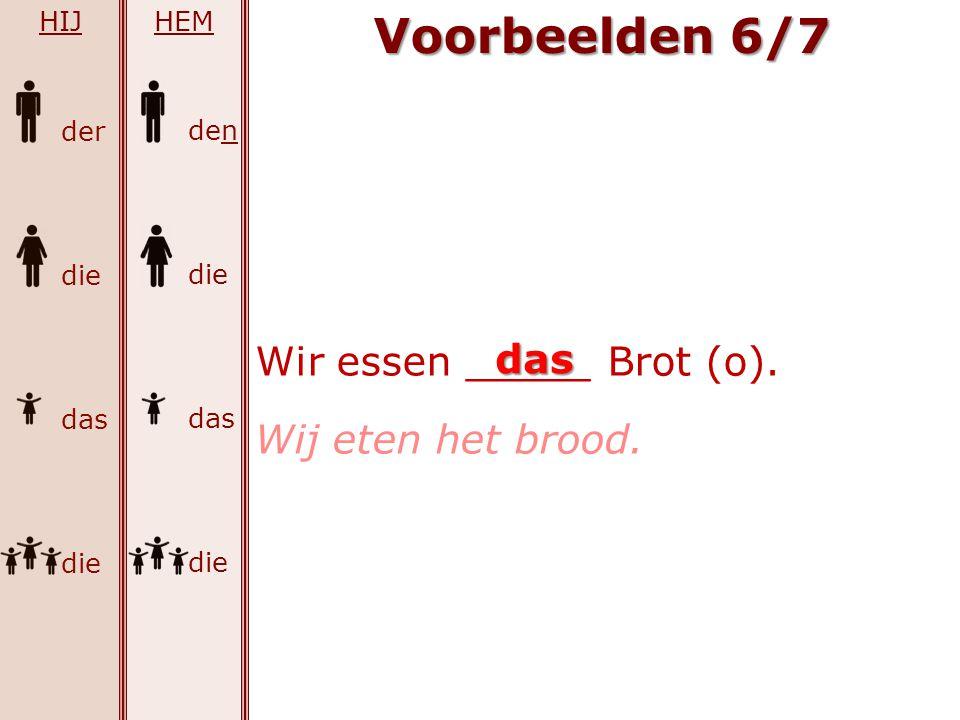 Voorbeelden 6/7 Wir essen _____ Brot (o). das Wij eten het brood. HIJ