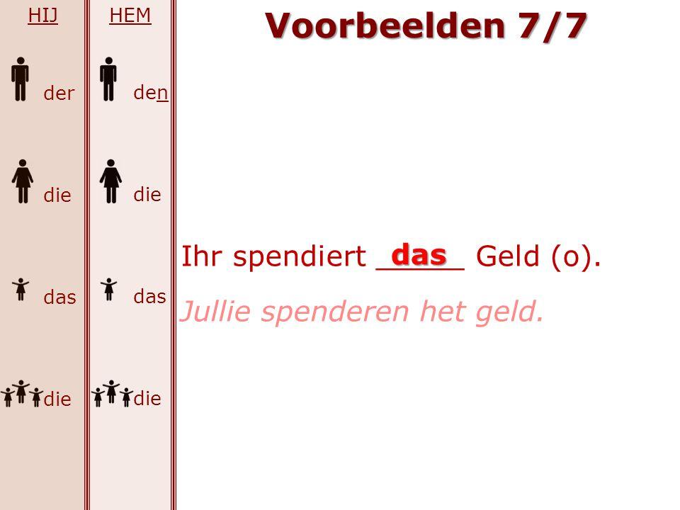Voorbeelden 7/7 Ihr spendiert _____ Geld (o). das