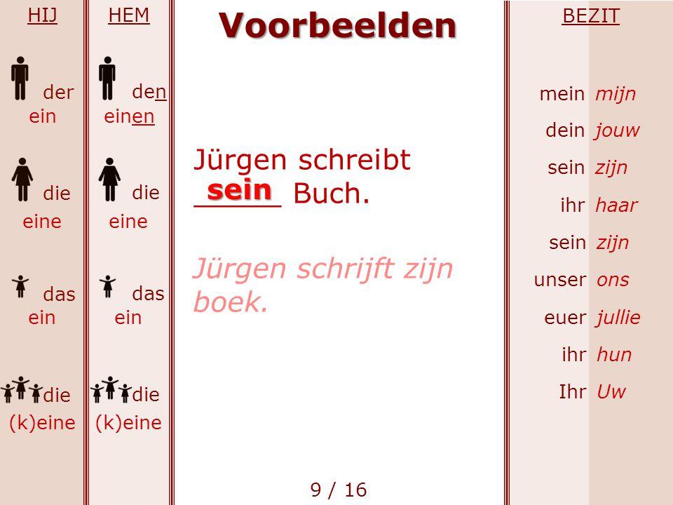 Voorbeelden Jürgen schreibt _____ Buch. sein