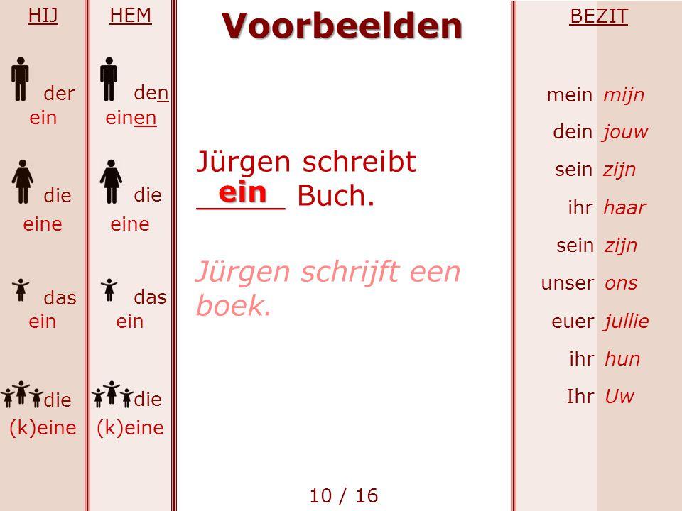 Voorbeelden Jürgen schreibt _____ Buch. ein Jürgen schrijft een boek.
