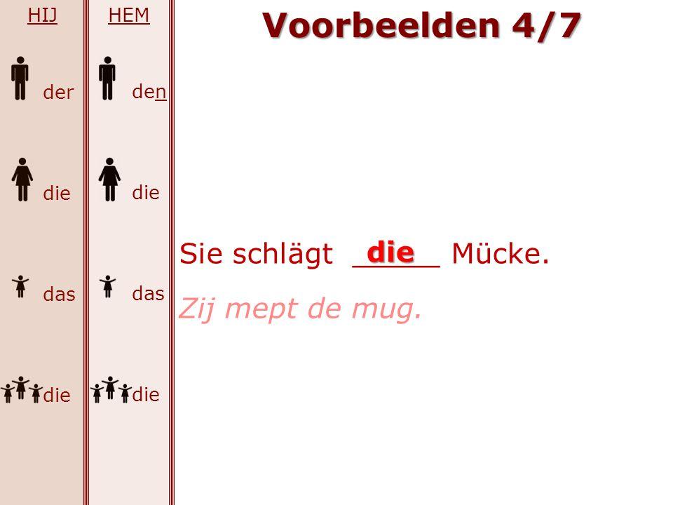 Voorbeelden 4/7 Sie schlägt _____ Mücke. die Zij mept de mug. HIJ HEM