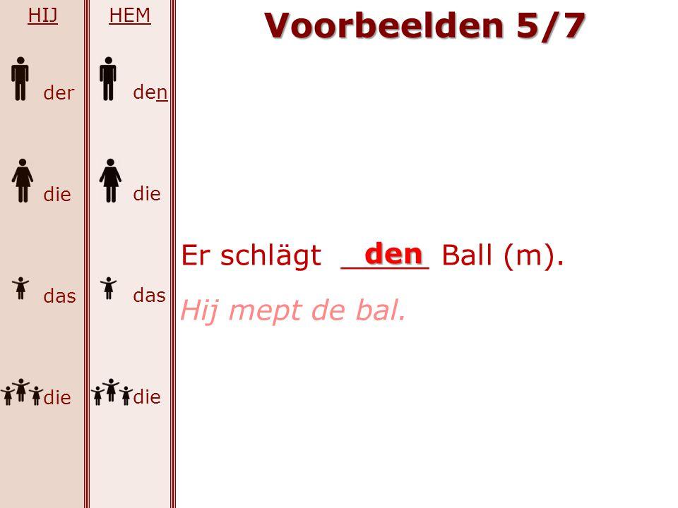 Voorbeelden 5/7 Er schlägt _____ Ball (m). den Hij mept de bal. HIJ