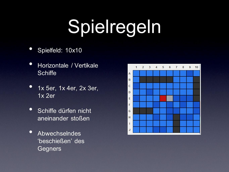 Spielregeln Spielfeld: 10x10 Horizontale / Vertikale Schiffe