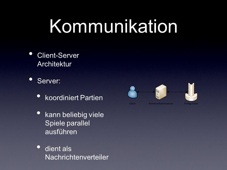 Kommunikation Client-Server Architektur Server: koordiniert Partien