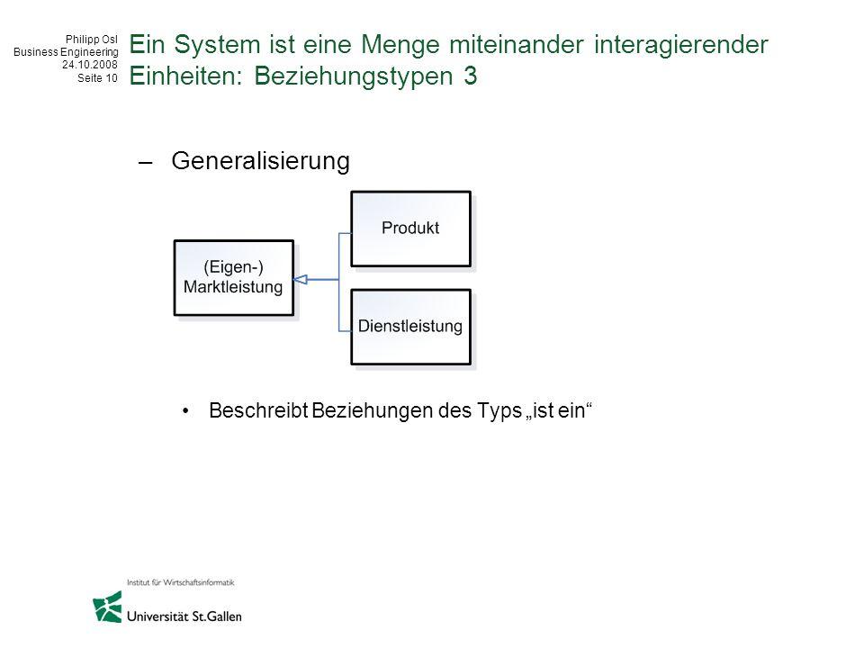Ein System ist eine Menge miteinander interagierender Einheiten: Beziehungstypen 3