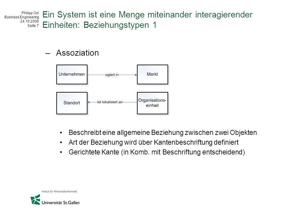 Ein System ist eine Menge miteinander interagierender Einheiten: Beziehungstypen 1