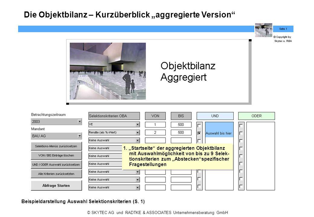 """Die Objektbilanz – Kurzüberblick """"aggregierte Version"""