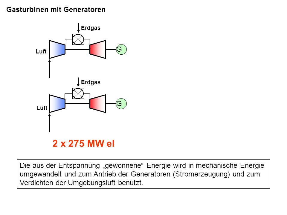 2 x 275 MW el Gasturbinen mit Generatoren G G