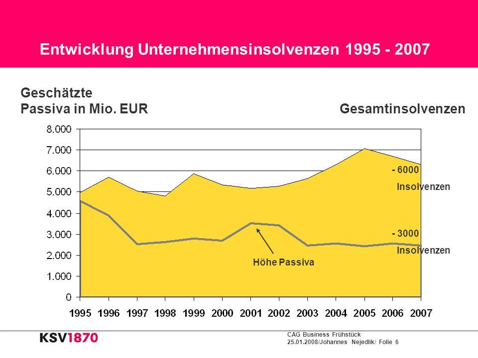Entwicklung Unternehmensinsolvenzen 1995 - 2007