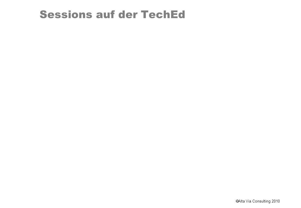 Sessions auf der TechEd