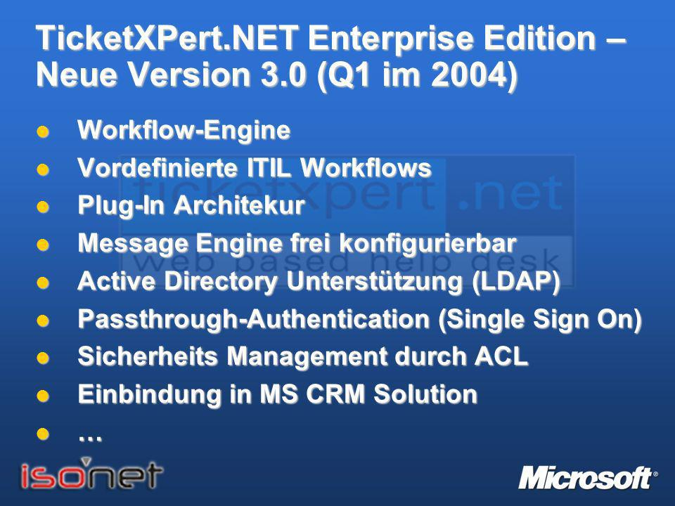TicketXPert.NET Enterprise Edition – Neue Version 3.0 (Q1 im 2004)