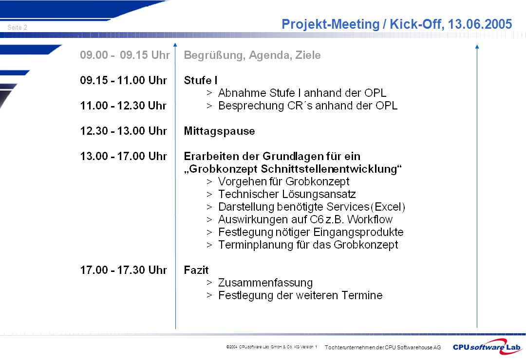 Projekt-Meeting / Kick-Off,