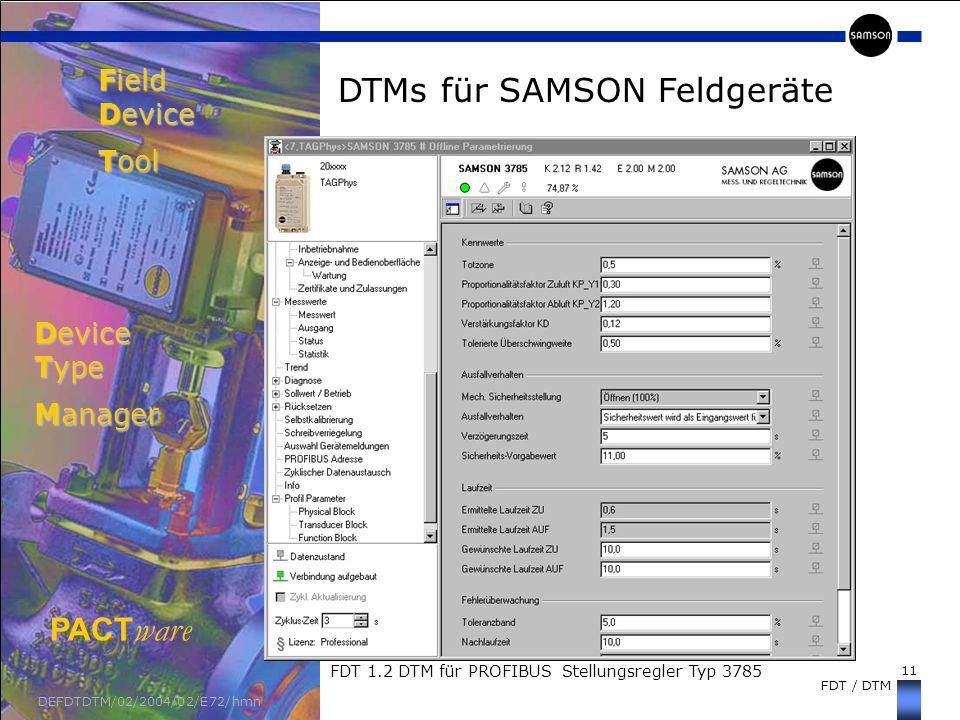 Field Device Tool Device Type Manager DTMs für SAMSON Feldgeräte
