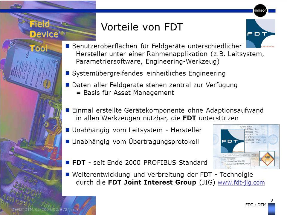 Field Device Tool Vorteile von FDT