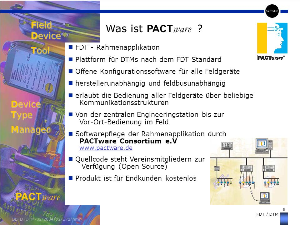 Field Device Tool Device Type Manager Was ist PACTware PACTware