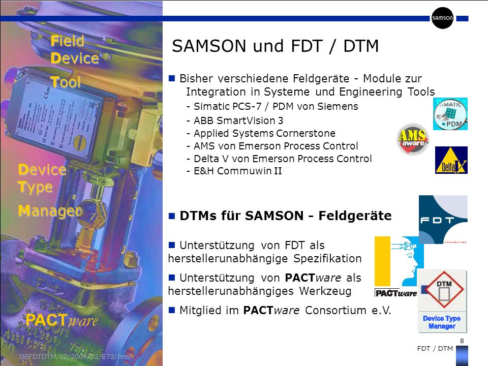 Field Device Tool Device Type Manager SAMSON und FDT / DTM PACTware