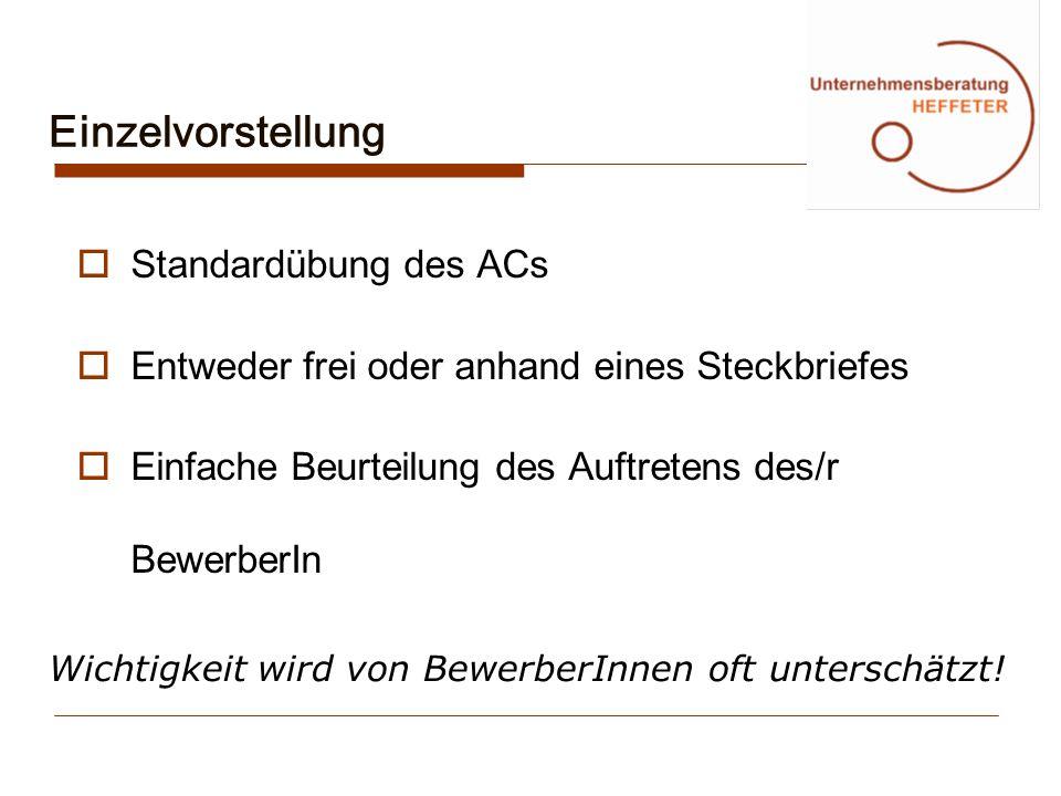 Einzelvorstellung Standardübung des ACs