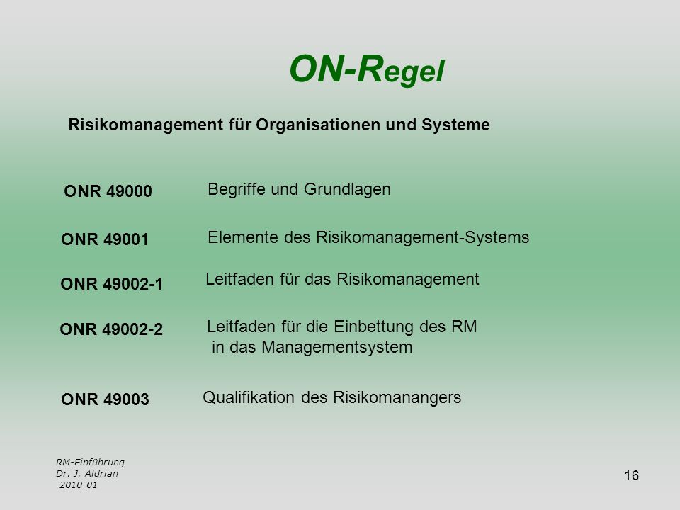 ON-Regel Risikomanagement für Organisationen und Systeme