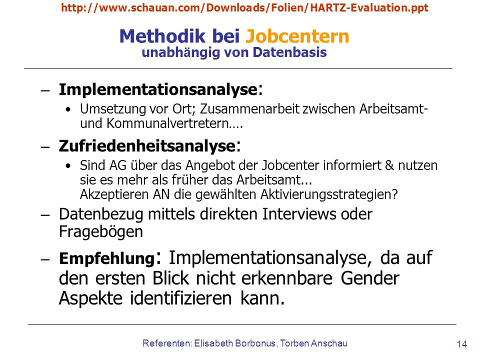 Methodik bei Jobcentern unabhängig von Datenbasis