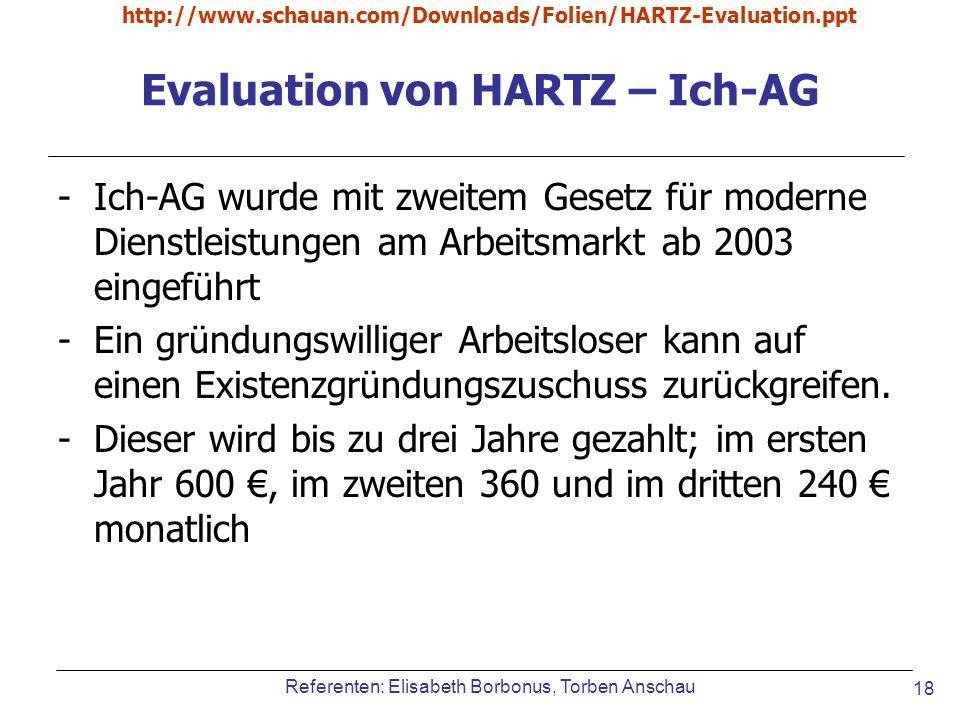 Evaluation von HARTZ – Ich-AG