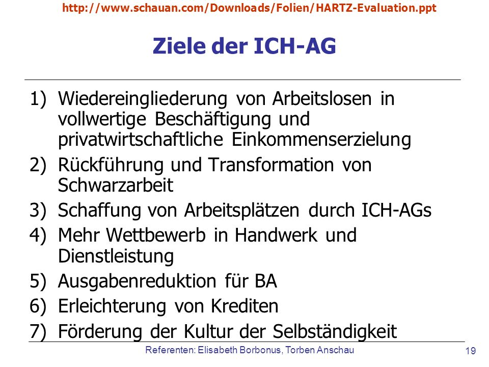 http://www.schauan.com/Downloads/Folien/HARTZ-Evaluation.ppt Ziele der ICH-AG.