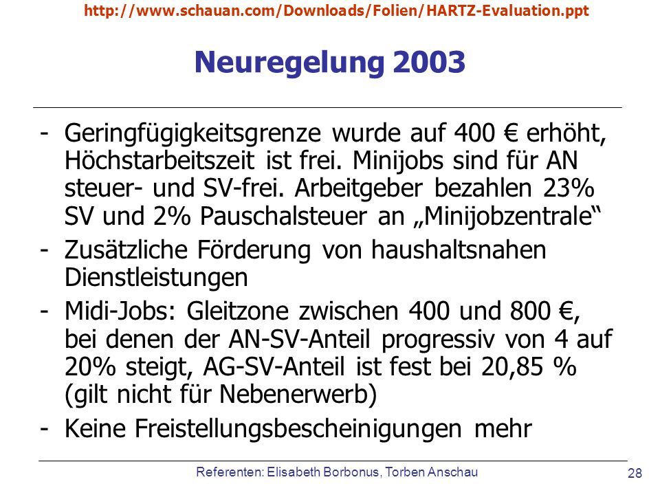 http://www.schauan.com/Downloads/Folien/HARTZ-Evaluation.ppt Neuregelung 2003.