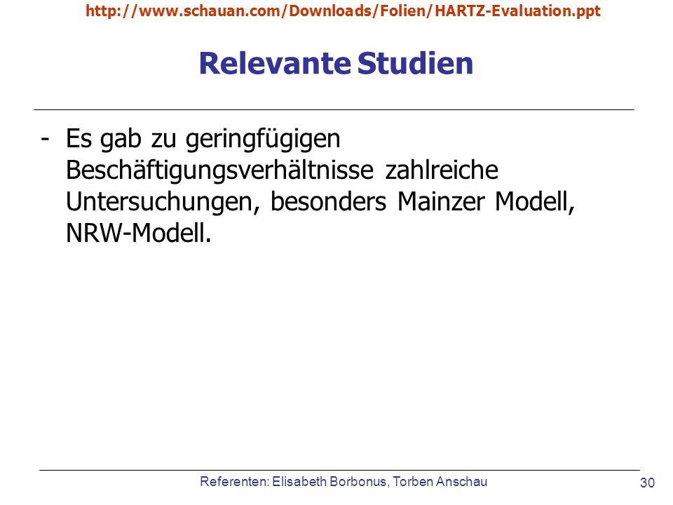 http://www.schauan.com/Downloads/Folien/HARTZ-Evaluation.ppt Relevante Studien.