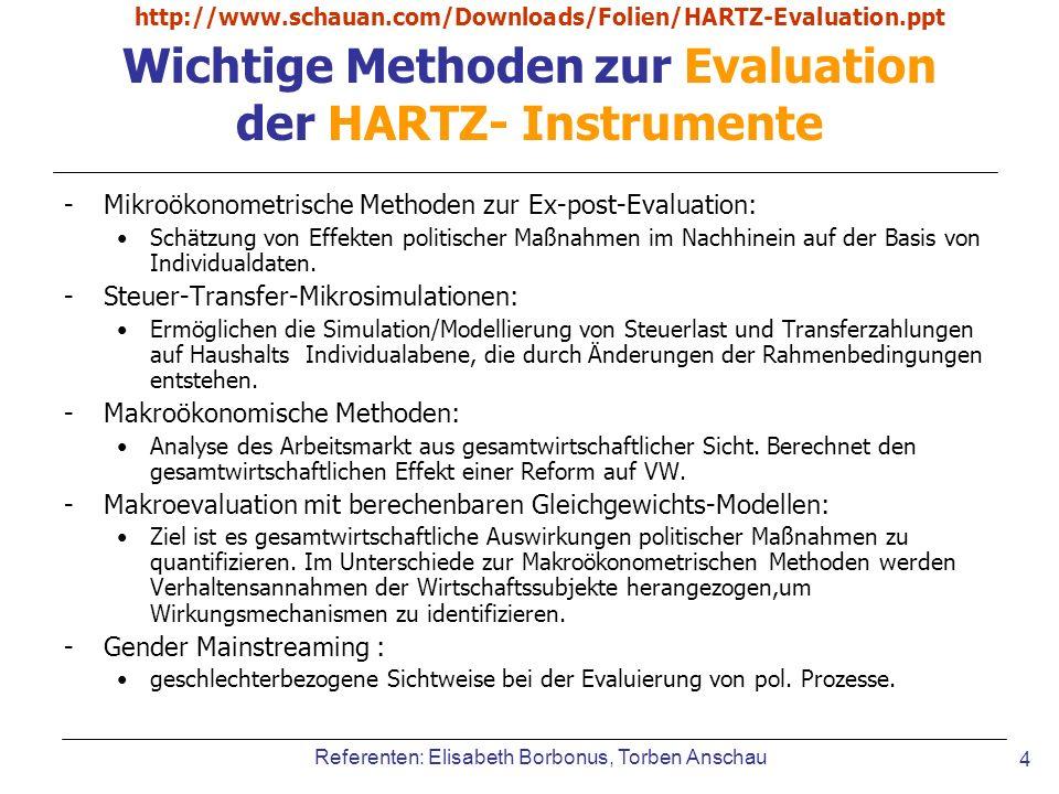 Wichtige Methoden zur Evaluation der HARTZ- Instrumente