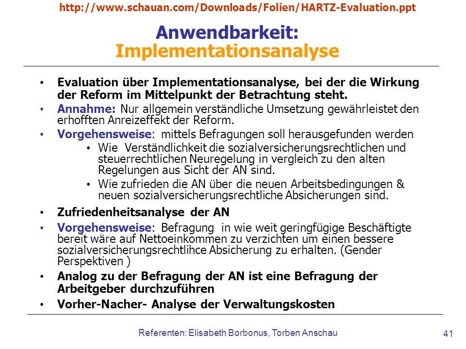 Anwendbarkeit: Implementationsanalyse