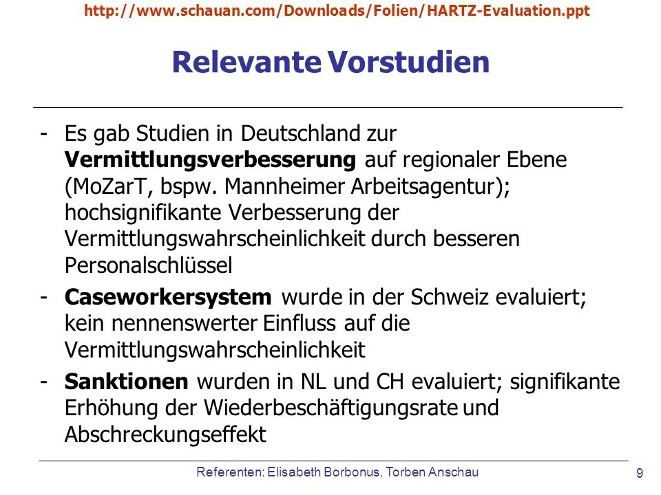 http://www.schauan.com/Downloads/Folien/HARTZ-Evaluation.ppt Relevante Vorstudien.