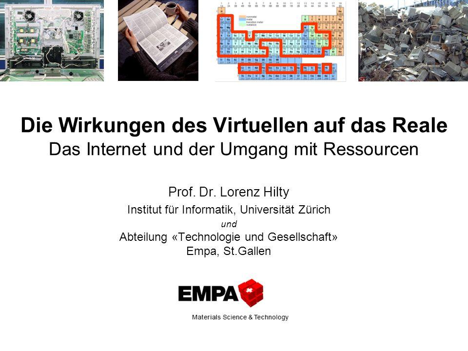 Die Wirkungen des Virtuellen auf das Reale Das Internet und der Umgang mit Ressourcen
