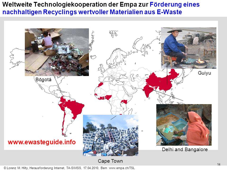 Weltweite Technologiekooperation der Empa zur Förderung eines nachhaltigen Recyclings wertvoller Materialien aus E-Waste
