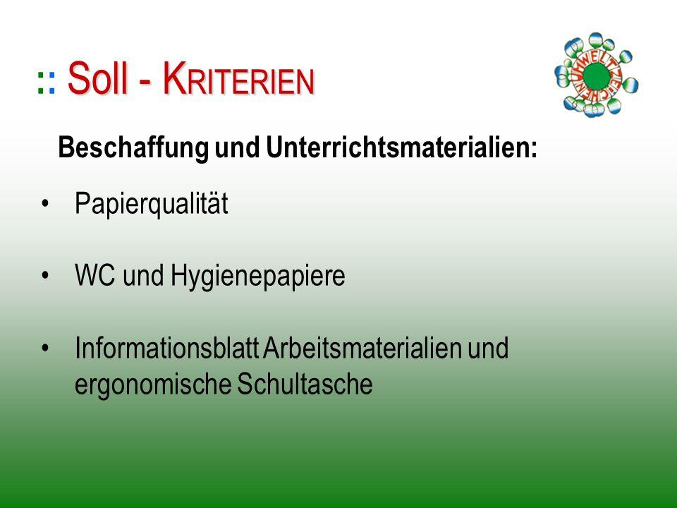 :: Soll - KRITERIEN Beschaffung und Unterrichtsmaterialien: