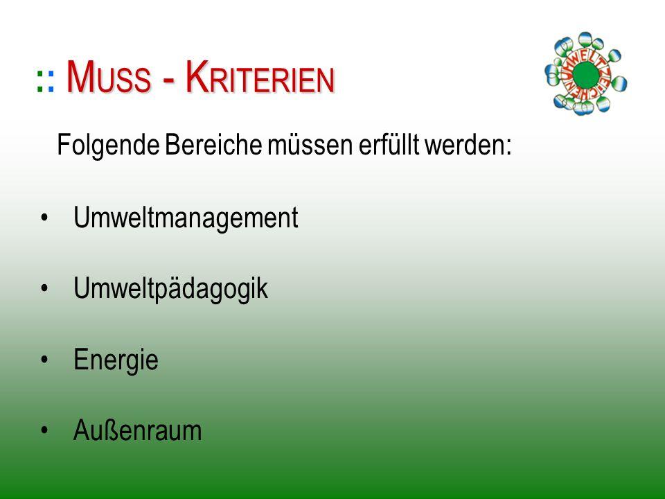 :: MUSS - KRITERIEN Folgende Bereiche müssen erfüllt werden: