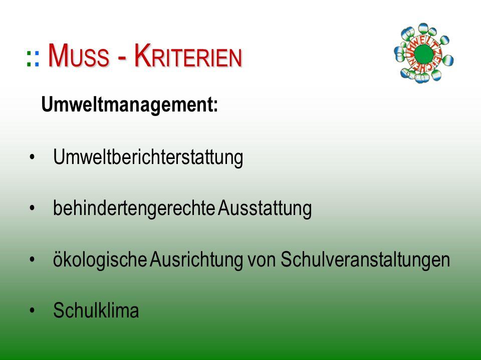 :: MUSS - KRITERIEN Umweltmanagement: Umweltberichterstattung