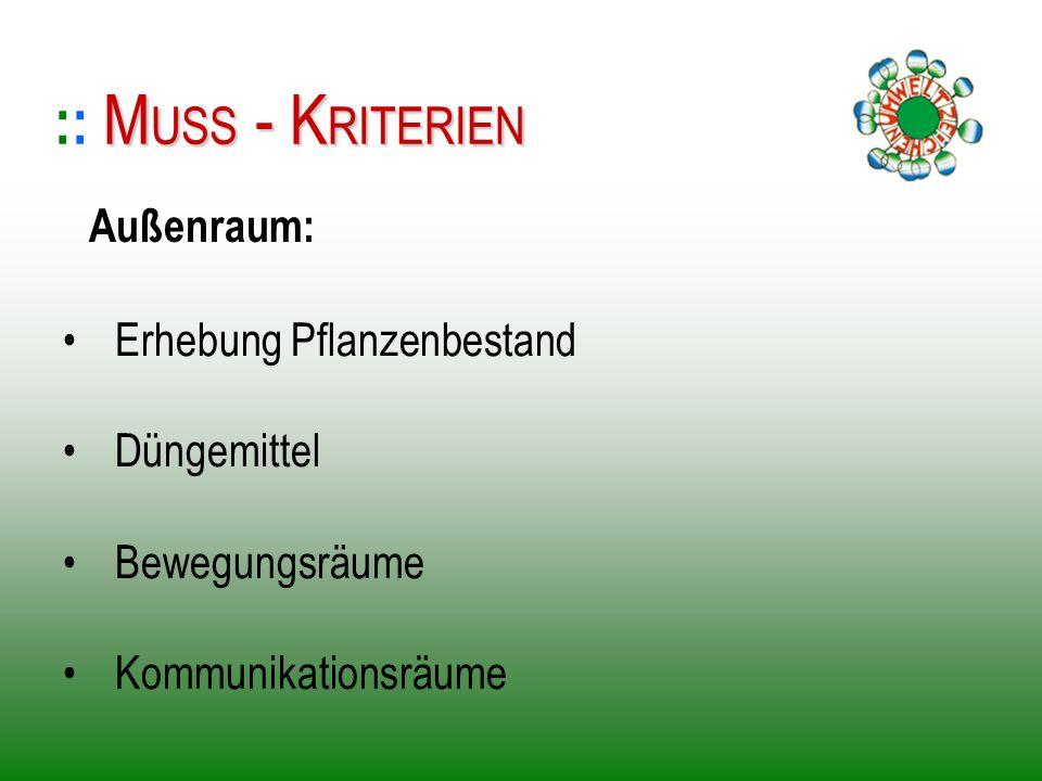 :: MUSS - KRITERIEN Außenraum: Erhebung Pflanzenbestand Düngemittel