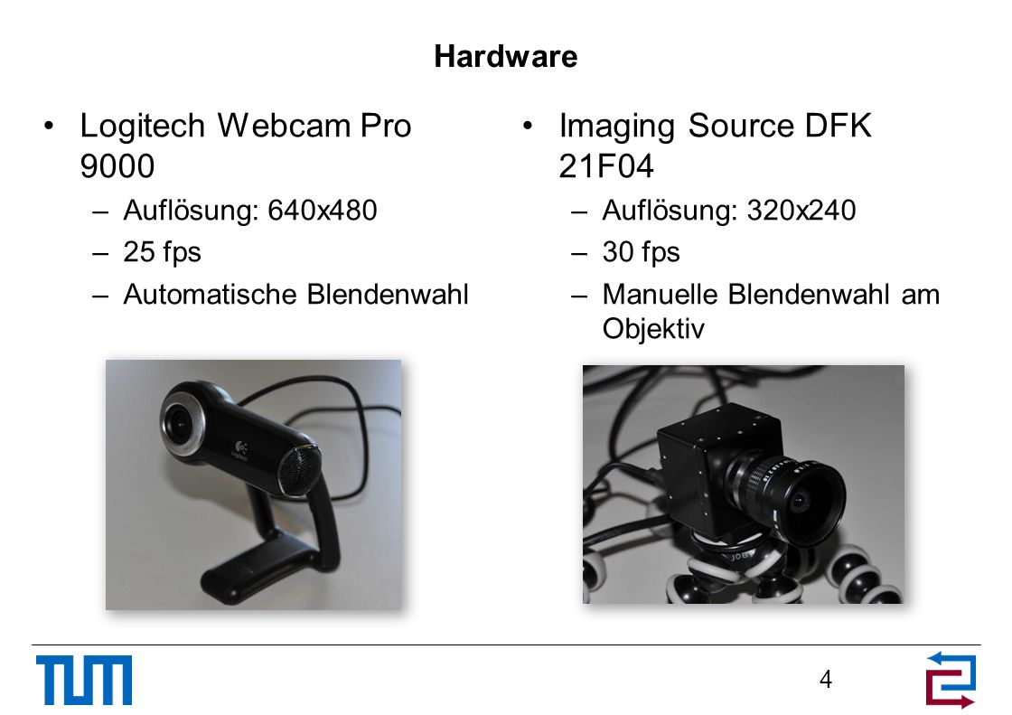 Logitech Webcam Pro 9000 Imaging Source DFK 21F04 Hardware
